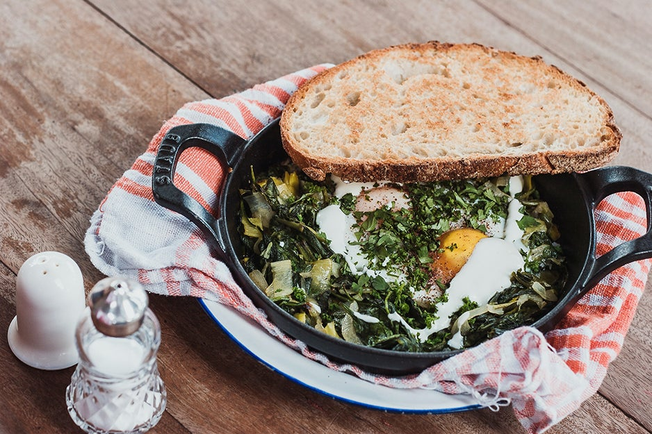 toast and spinach egg dish