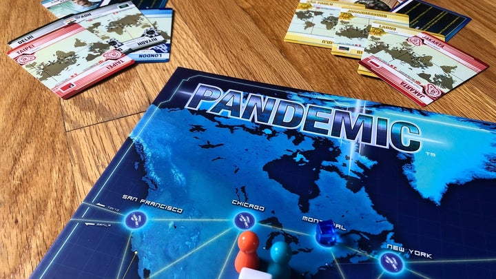 the start of the cooperative board game, Pandemic