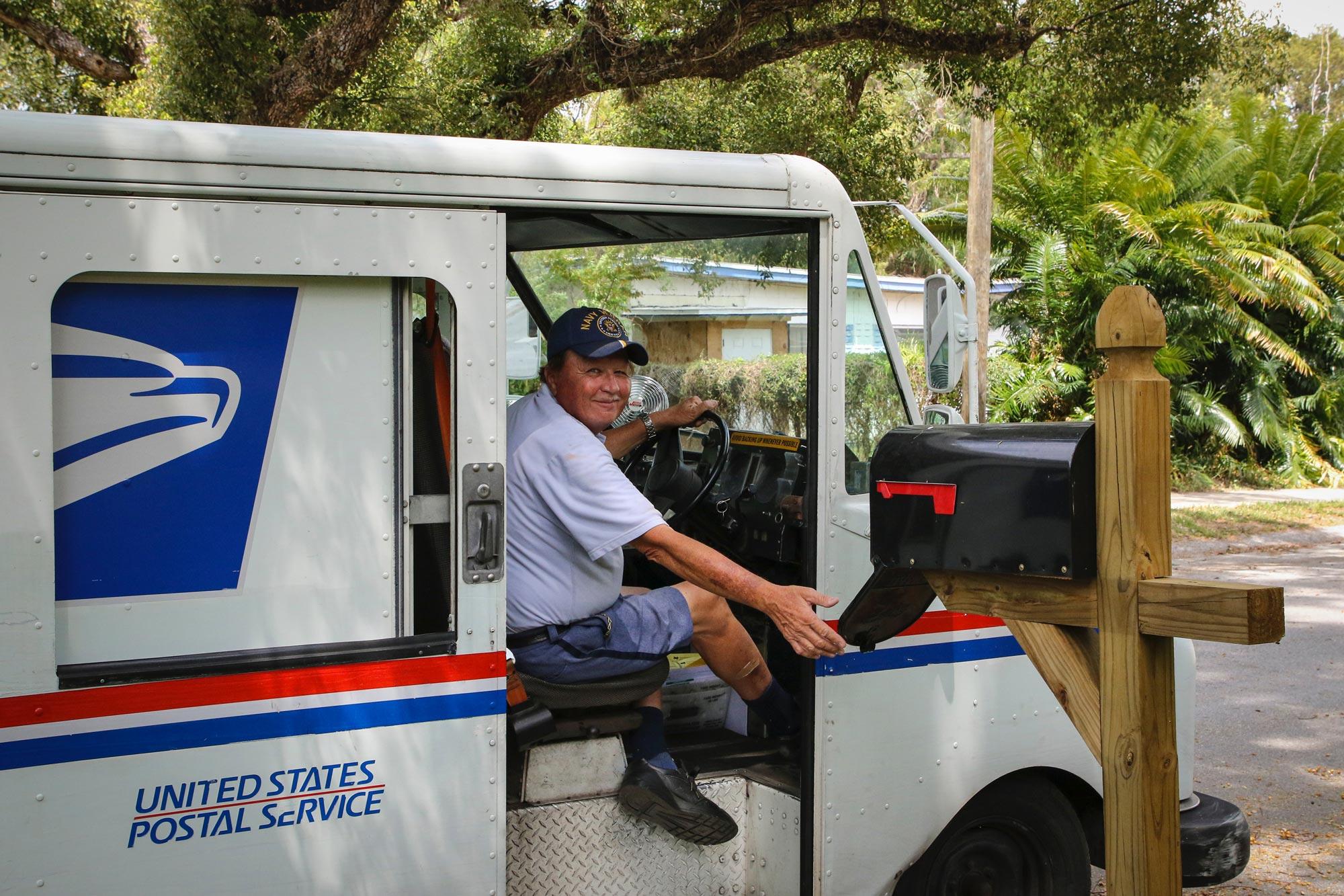 USPS delivering mail