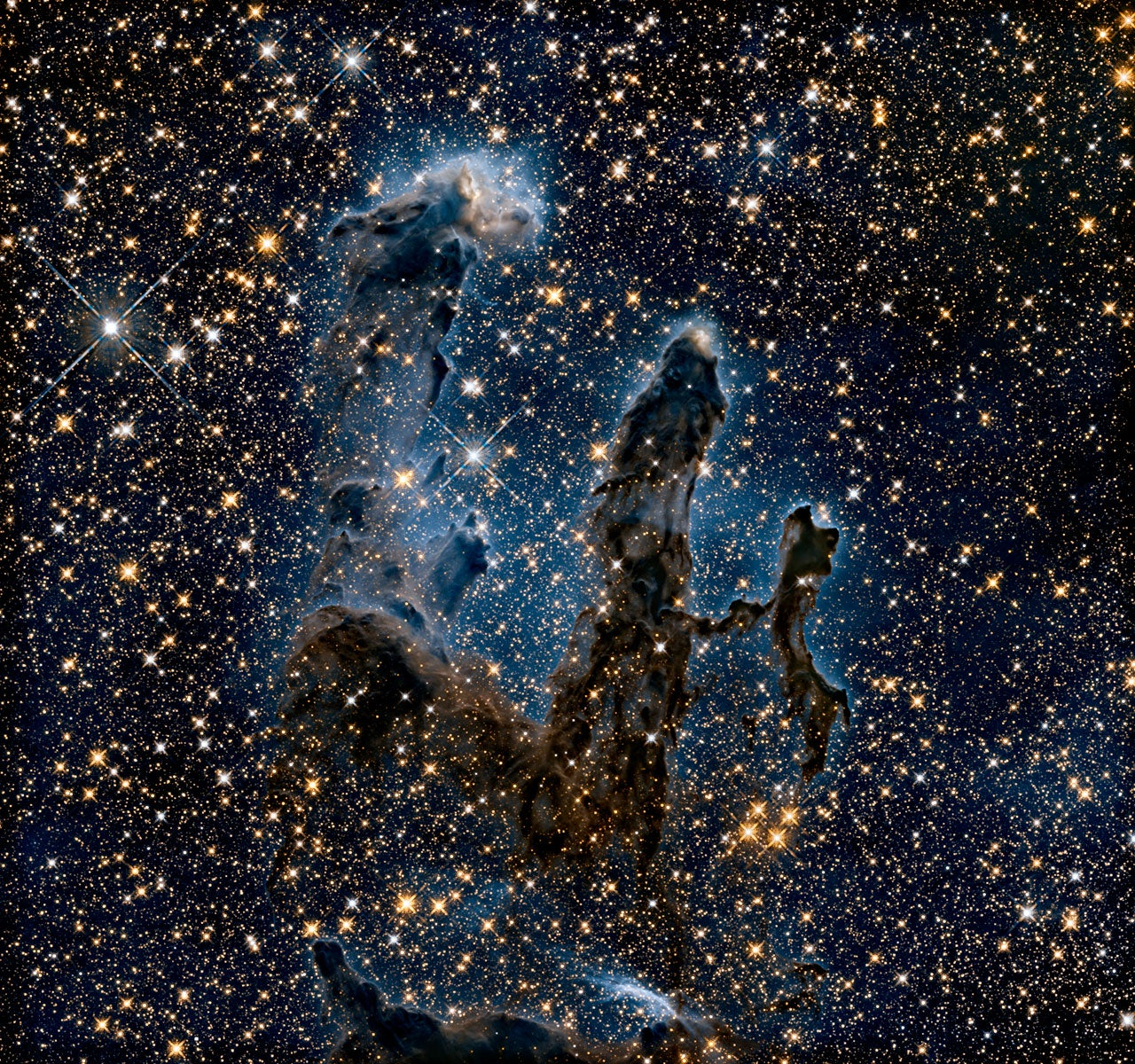 The Eagle Nebula's Pillars of Creation imaged in infrared light.