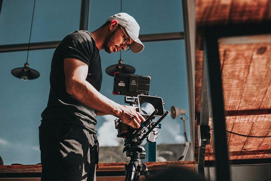 filming video on a tripod