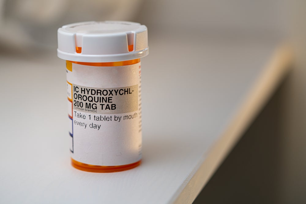 A bottle of hydroxychloroquine, a drug used to treat malaria and lupus