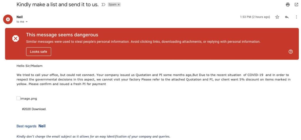 Gmail phishing attack.