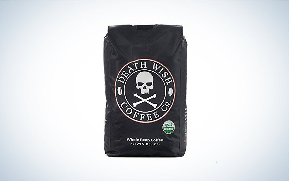 DEATH WISH COFFEE Whole Bean Coffee [16 oz.] The World's Strongest, USDA Certified Organic, Fair Trade, Arabica and Robusta Beans