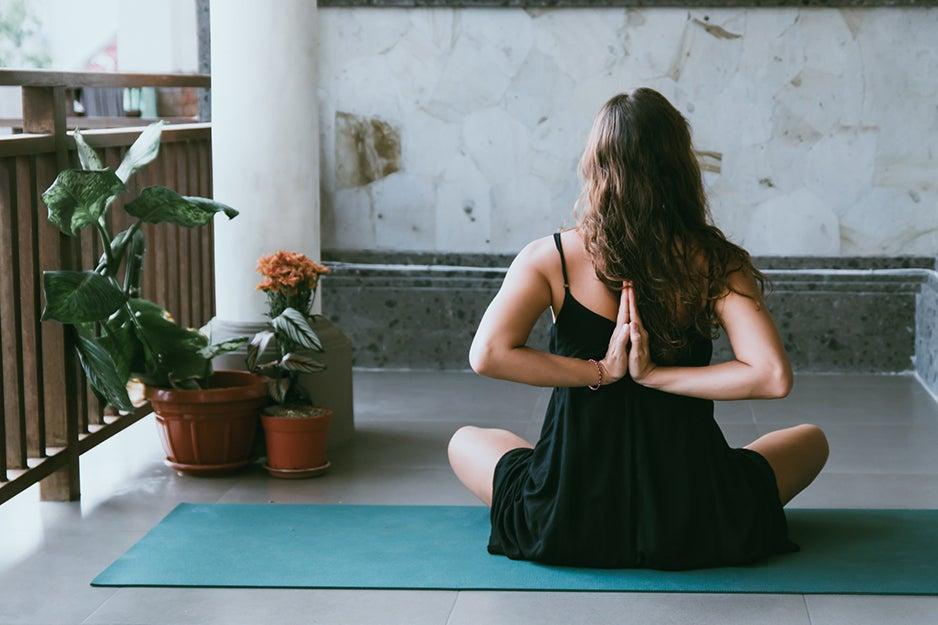 woman on a yoga mat