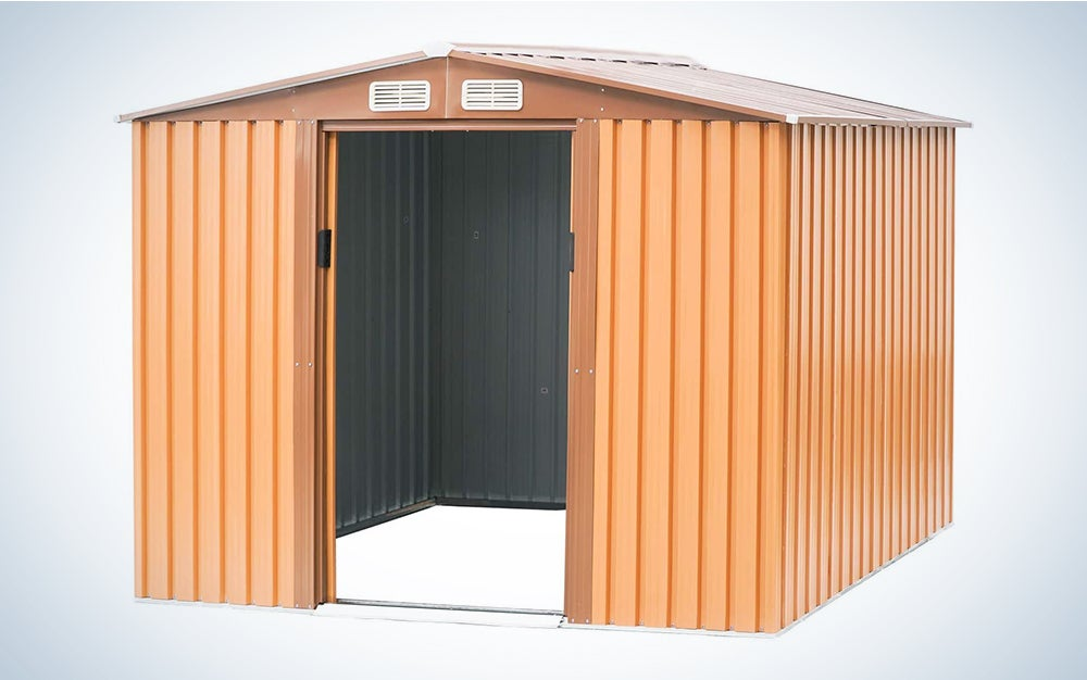 Patiomore 6×8 FT Outdoor Storage Shed Tool House Garden Lawn Steel Shed Walk-in