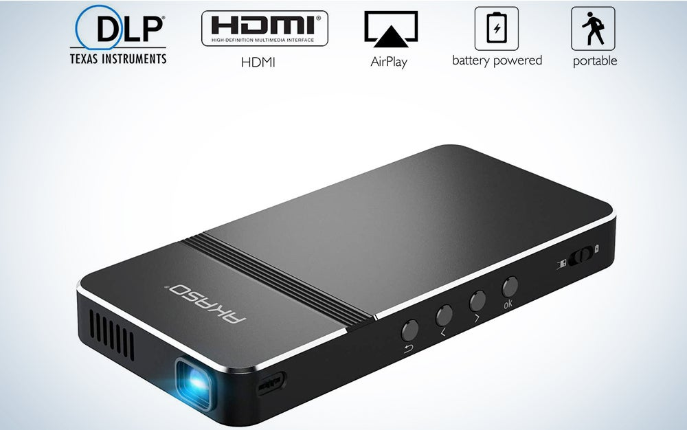 AKASO Mini Projector, Pocket-Sized DLP Portable Projector, 50 ANSI Lumens Video Projector, Support 1080P HDMI Input Built-in Rechargeable Battery Stereo Speakers and Remote Control Movie Projector