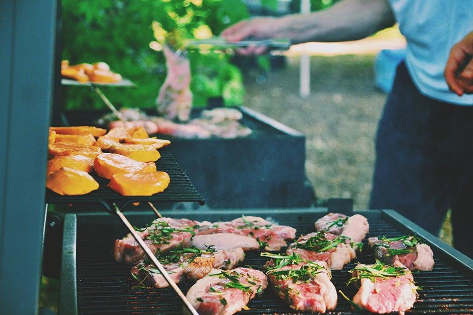 food on multiple grills