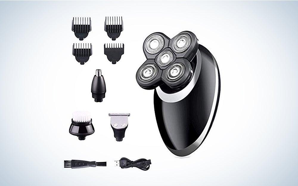 Electric Razor Grooming Kit for Men, 4 in 1 Dry Wet Waterproof Rotary Bald Head Shaver