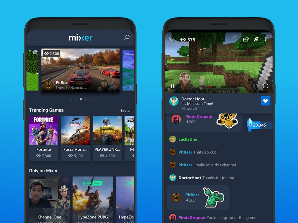 screenshots of the video game livestreaming app Mixer, on a phone