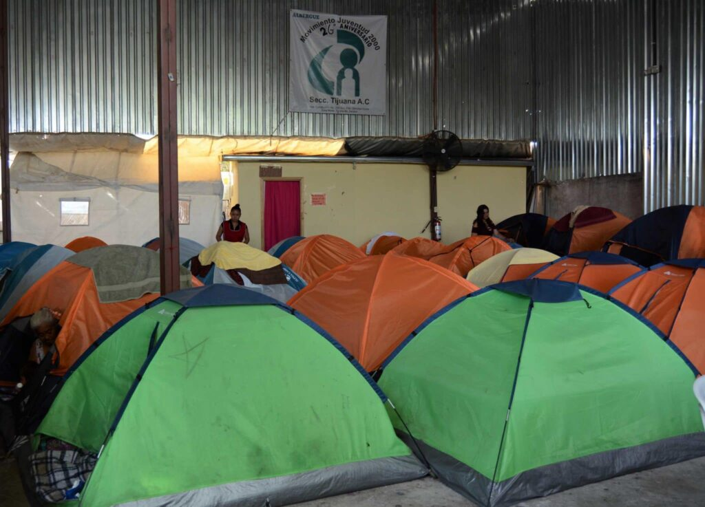 Tents set up for migrants staying at the Movimiento Juventud 2000 shelter.