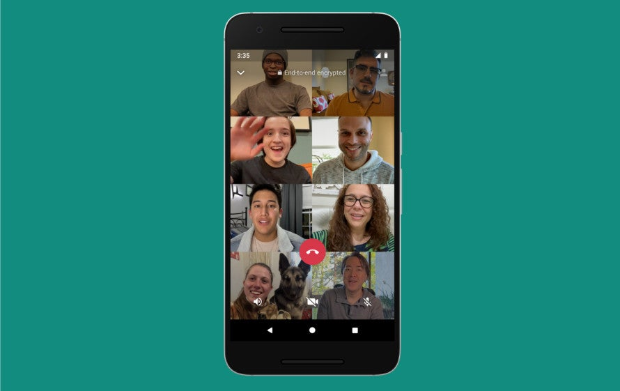 WhatsApp 8 person video chat.