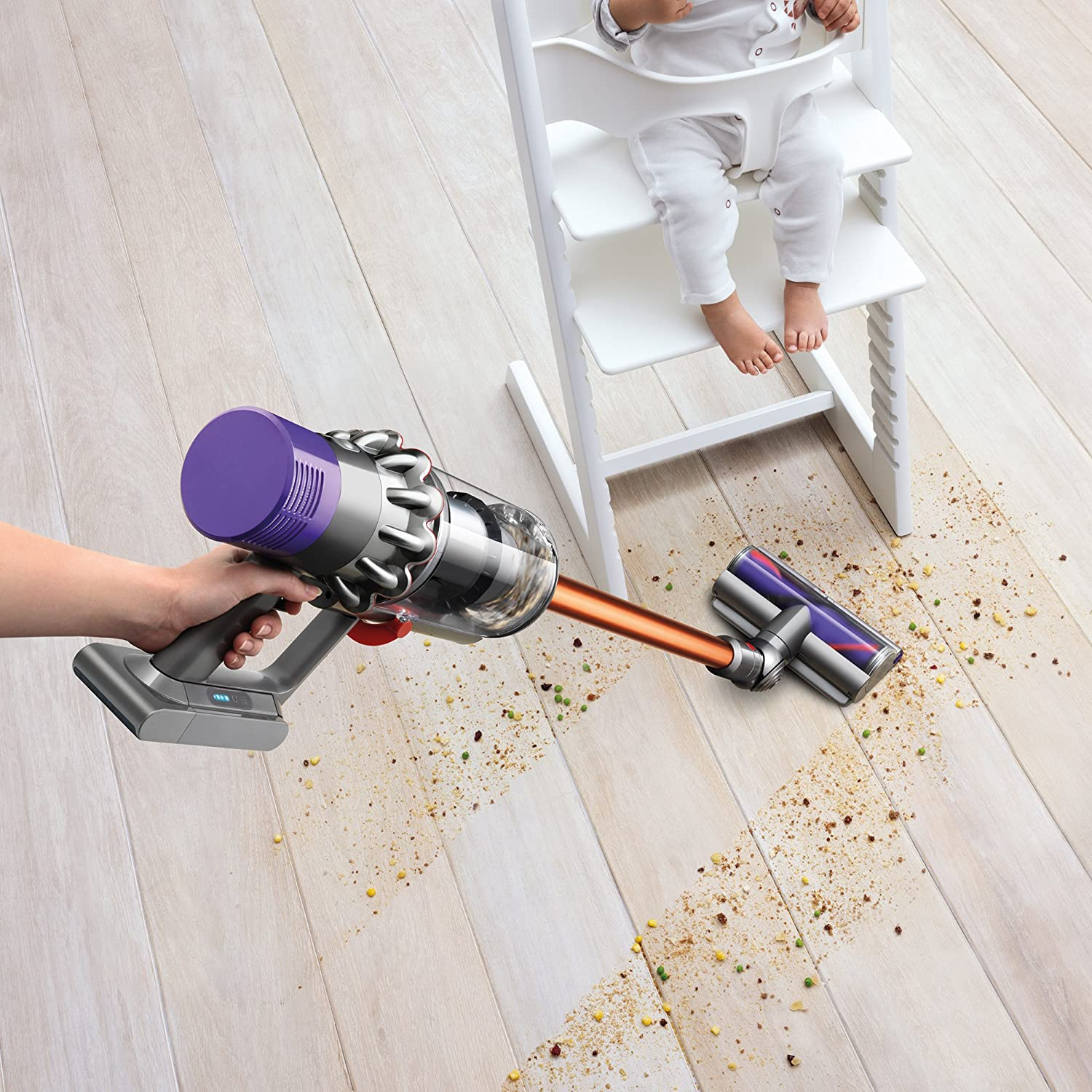dyson vacuum cleaning up mess
