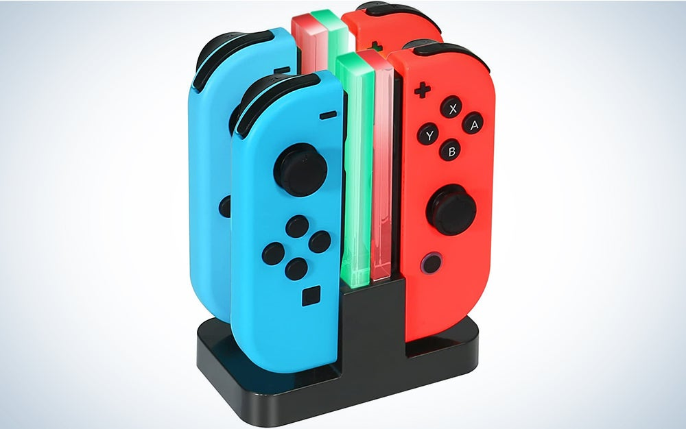 Nintendo Switch Joy-Con Charging Dock KINGTOP 4 in 1 Charger Stand and Charging Holder with Individual LED Indicator