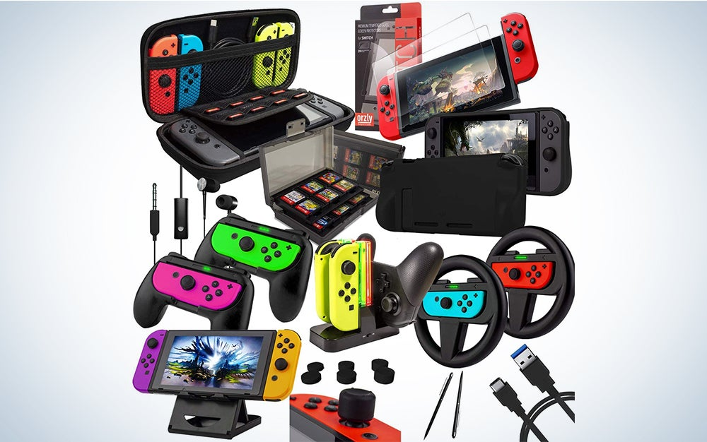 Orzly Accessories Bundle Compatible with Nintendo Switch - Geek Pack: Case & Screen Protector, Joycon Grips & Racing Wheels, Controller Charge Dock, Comfort Grip Case & More - JetBlack