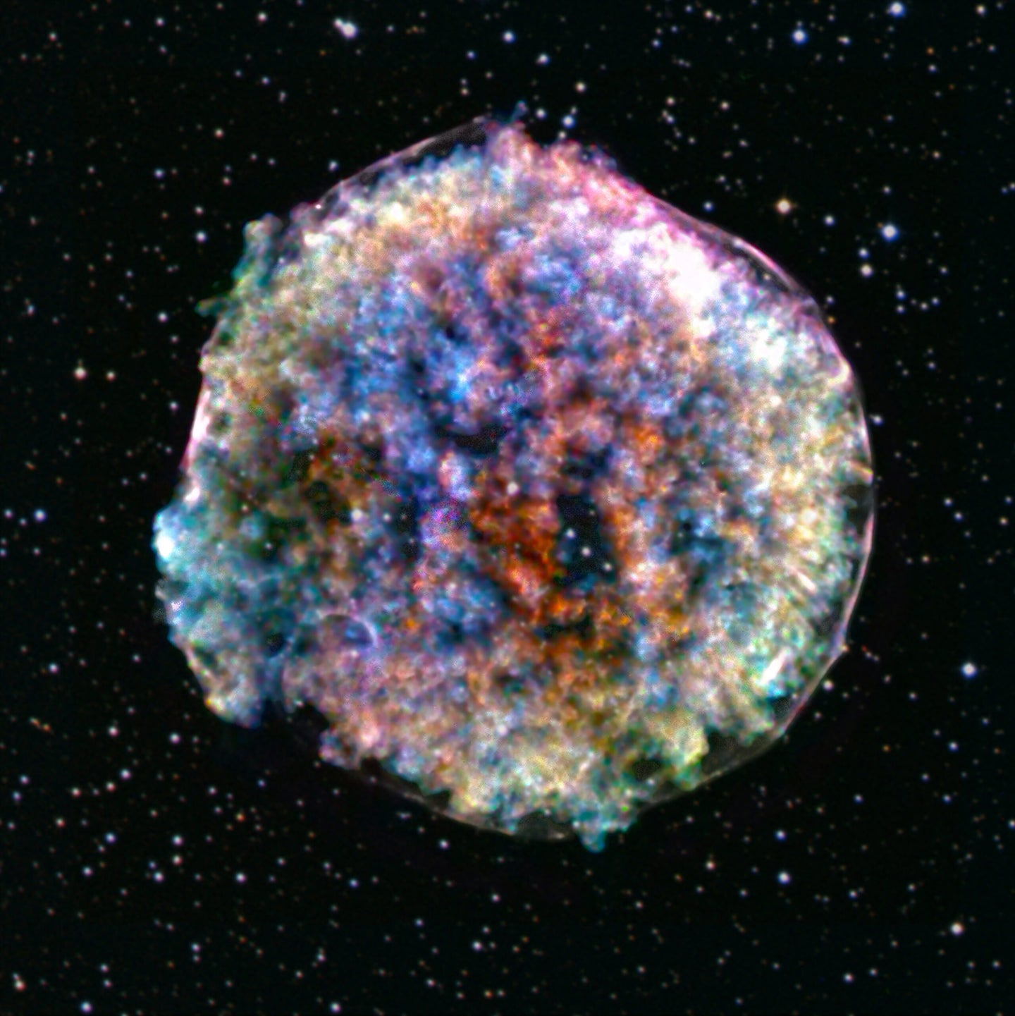 An X-ray and optical composite image of a detonating star.