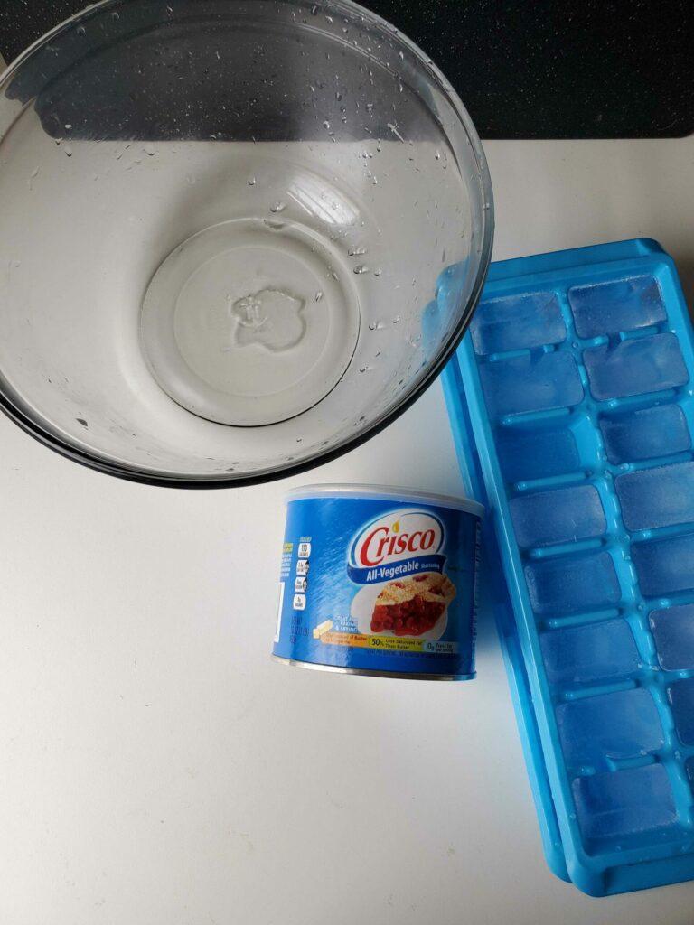 Bowl, ice-cube tray, and Crisco shortening