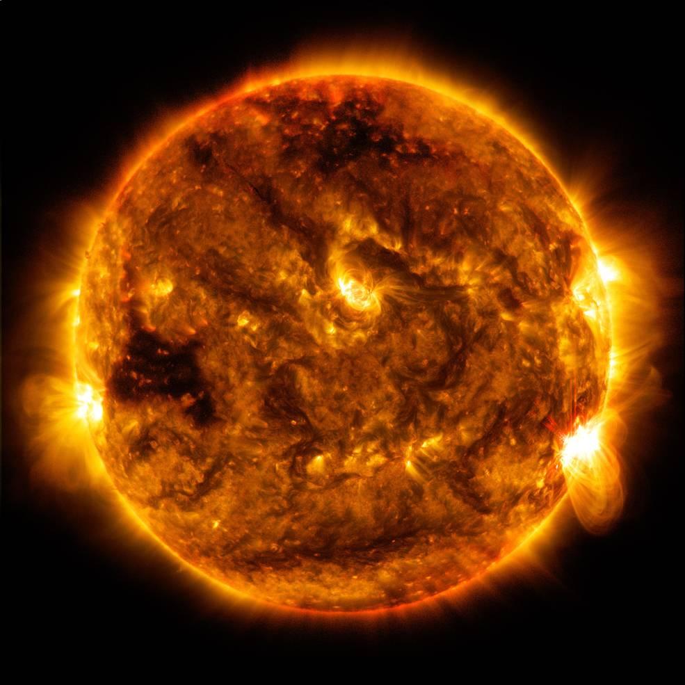 the sun emitting some solar flares