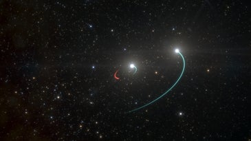 Two starts orbiting a black hole, as portrayed by an illustrator