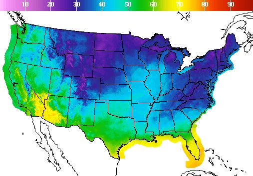a map of temperatures across the US, showing very low temperatures in the northeast, mid-atlantic, and midwest