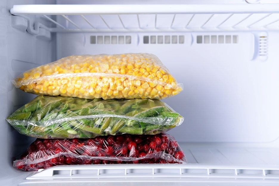fruits and vegetables in a freezer