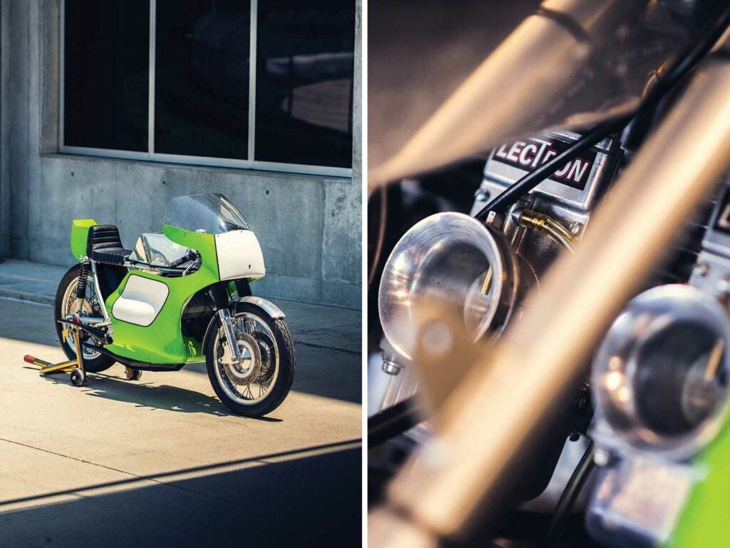 This 1974 Seeley-Kawasaki is powered by a two-stroke H2R 750cc inline-three with a Colin Seeley-produced chassis.