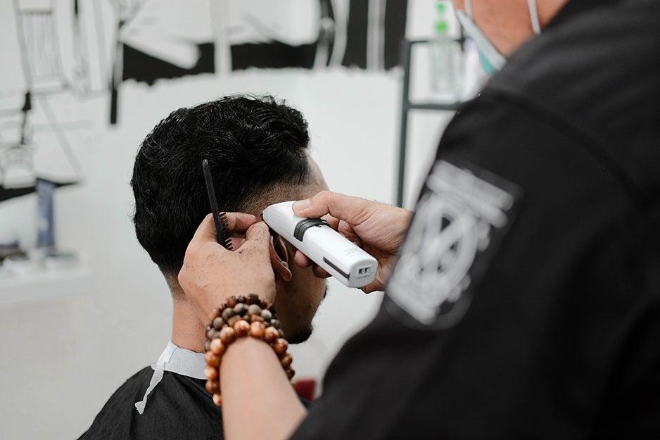 guy getting a haircut