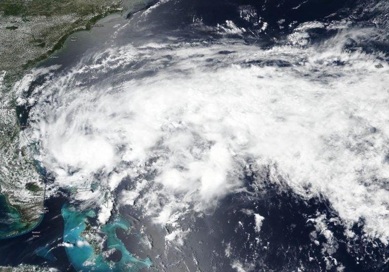 satellite view of tropical storm arthur 2020
