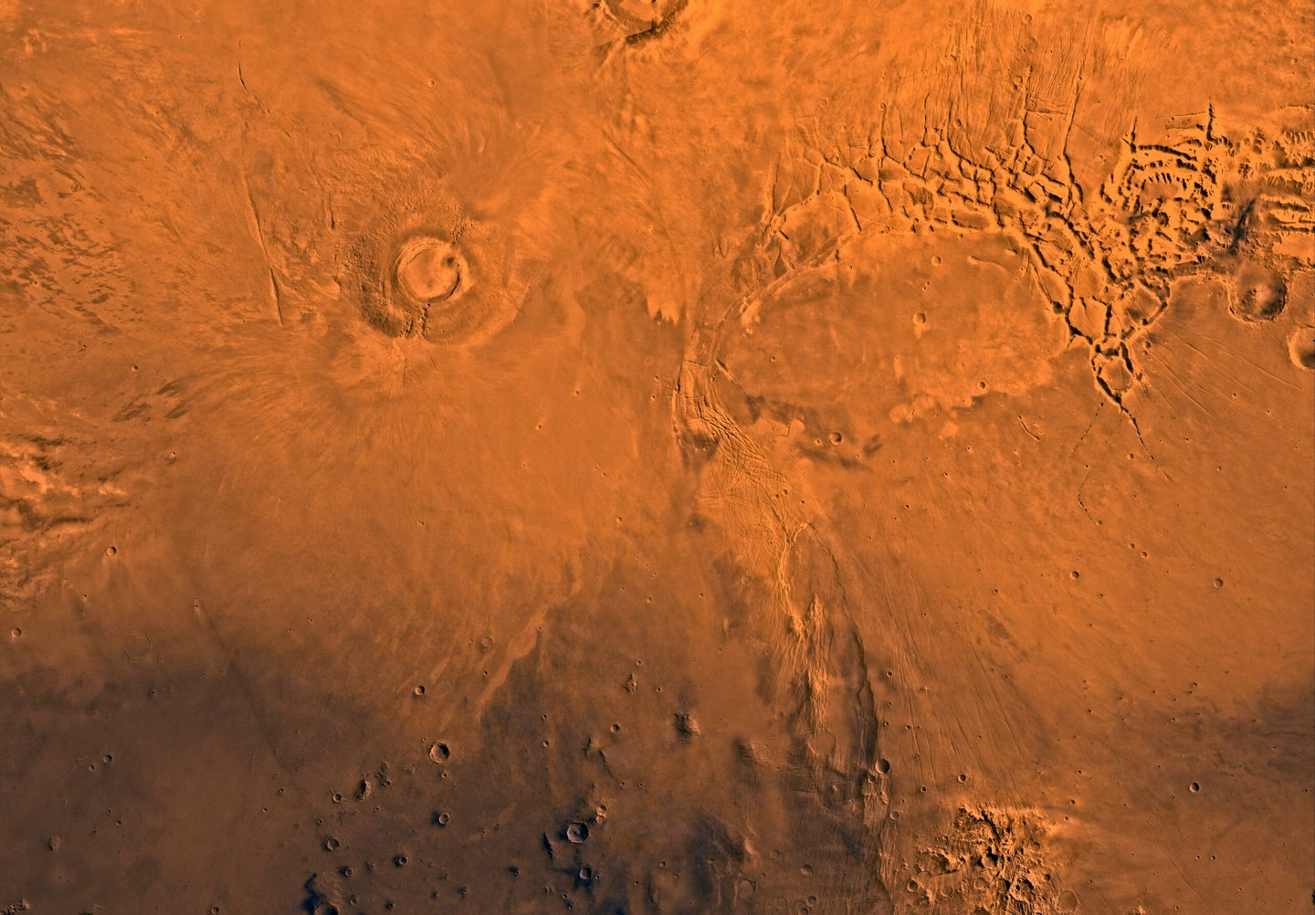 An aerial view of a Martian volcano.