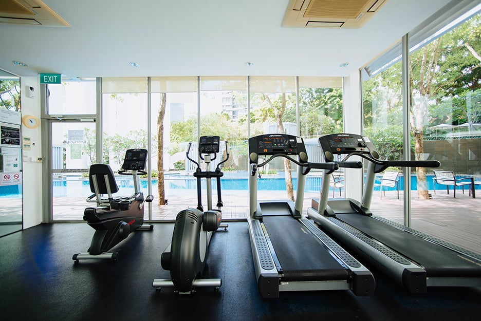 gym equipment in a room