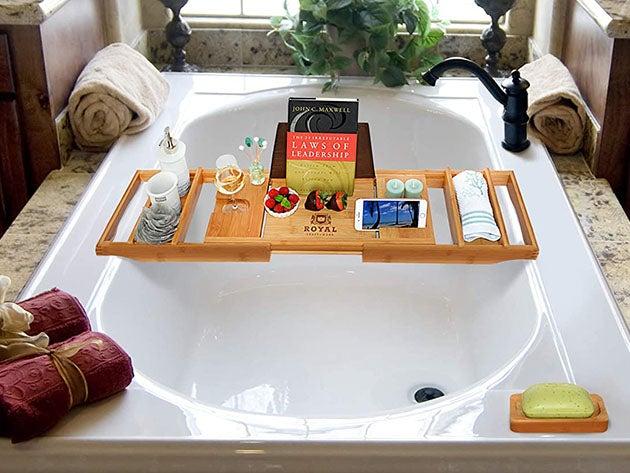 Luxury 100% Bamboo Bathtub Caddy Tray