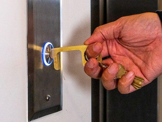 Hygiene Hand: Antimicrobial Brass Door Opener & Stylus