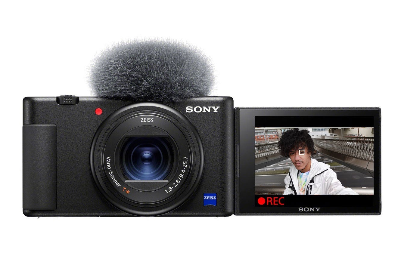 Sony ZV-1 with microphone.