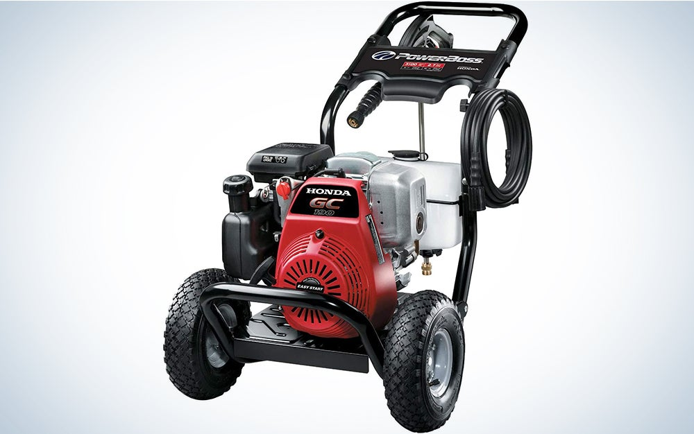 PowerBoss 3100 MAX PSI at 2.4 GPM Gas Pressure Washer with Detergent Tank, 25-Foot High-Pressure Hose, and 4 Quick-Connect Nozzles
