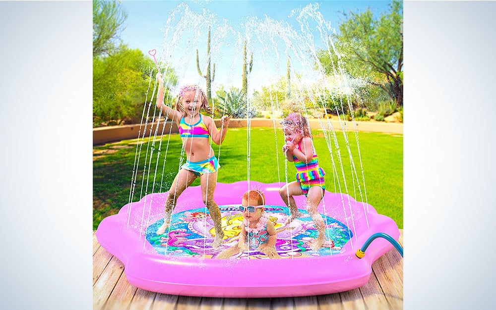 "PRINCESSA Splash Pad for Girls 78"" Outdoor Mermaid Children's Water Pad"