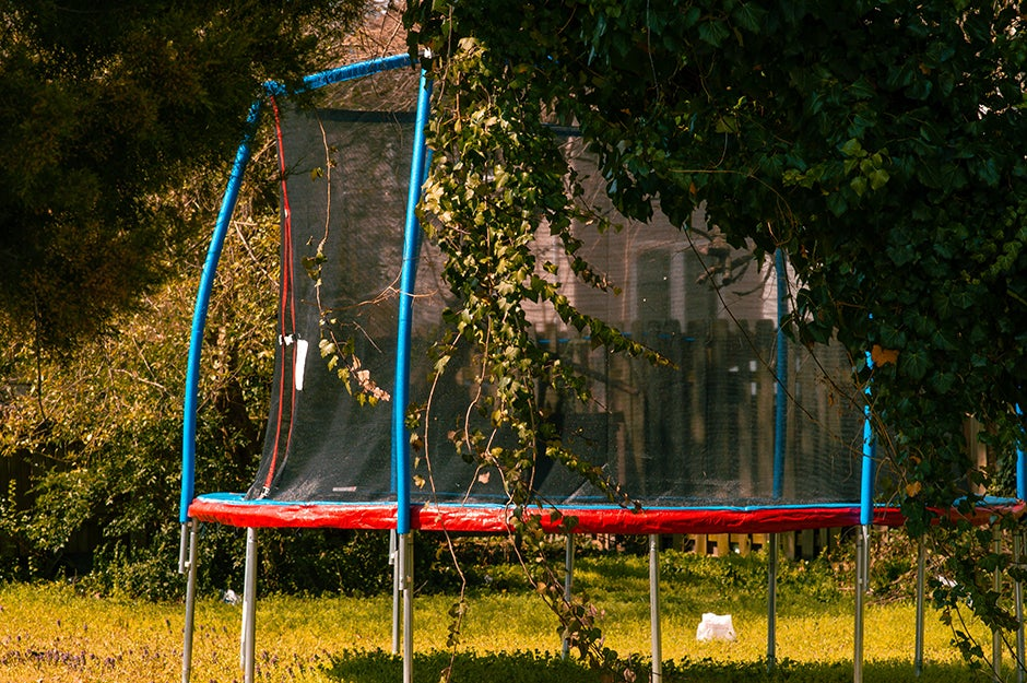 trampoline in backyard