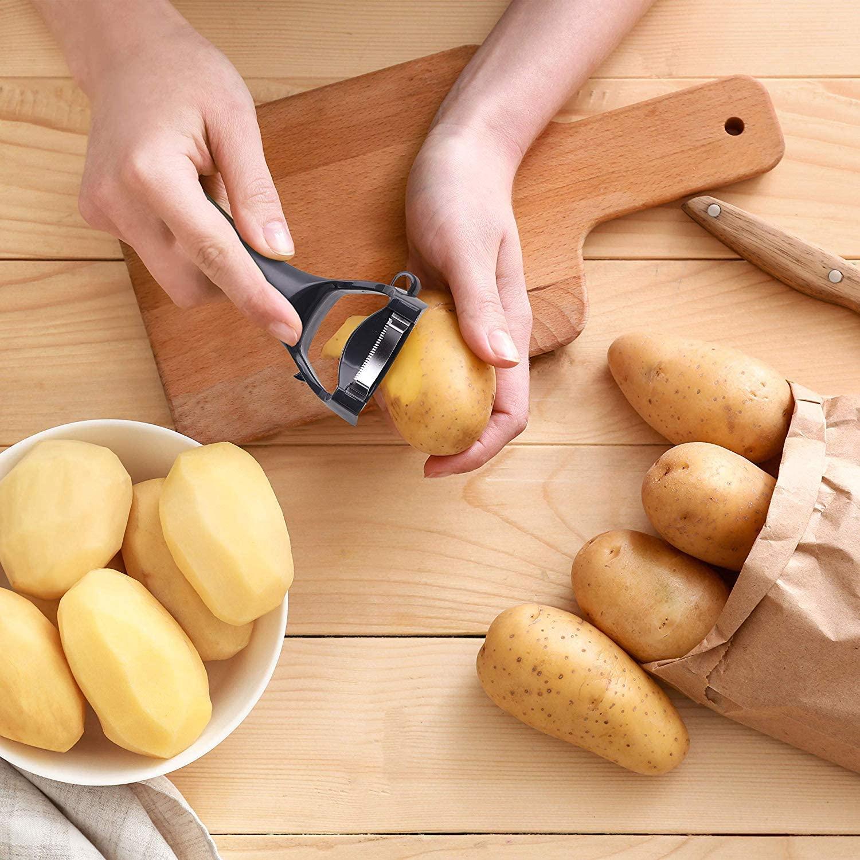 person feeling potatoes