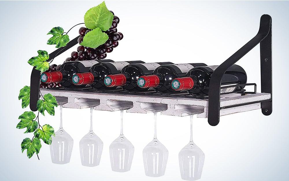 SODUKU Wall Mounted Wooden Wine Rack 4 Wine Bottles and 4 Long Stem Glasses Holder Wine Cork Storage Rack Espresso