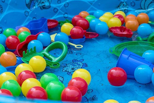 toys in a kiddie pool