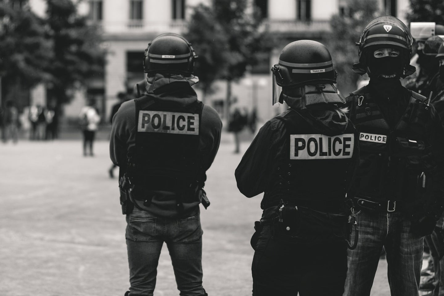 police at a protest