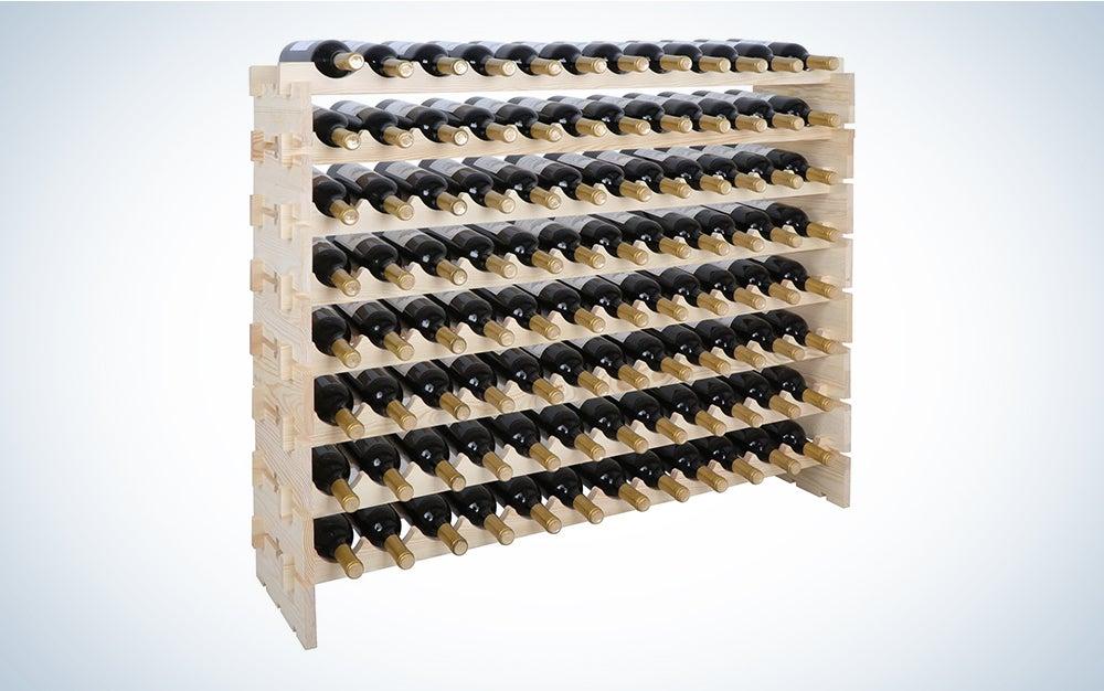 Smartxchoices 96 Bottle Modular Wine Rack, Stackable Wine Storage Rack Free Standing Floor Wine Holder Display Shelves, Solid Wood - Wobble-Free (96 Bottles)