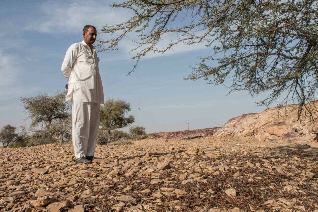 A farmer whose lands have been ravaged by locusts