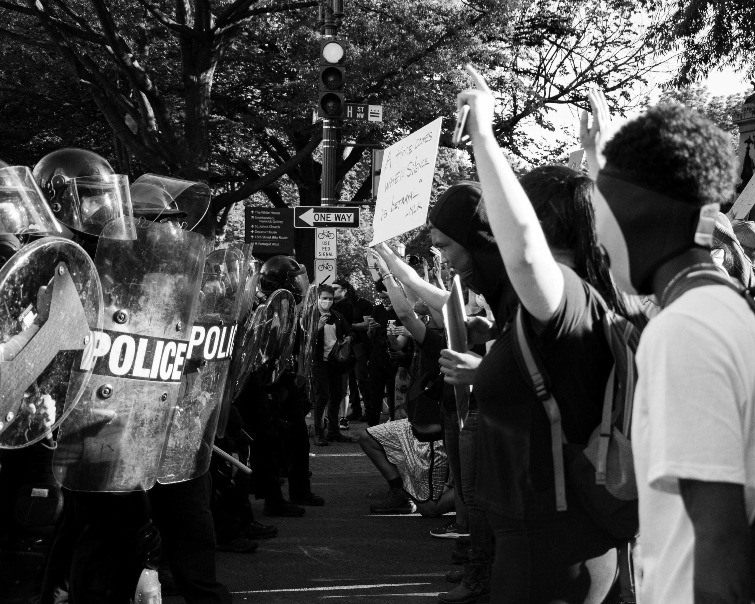 protesters at a rally for black lives matter