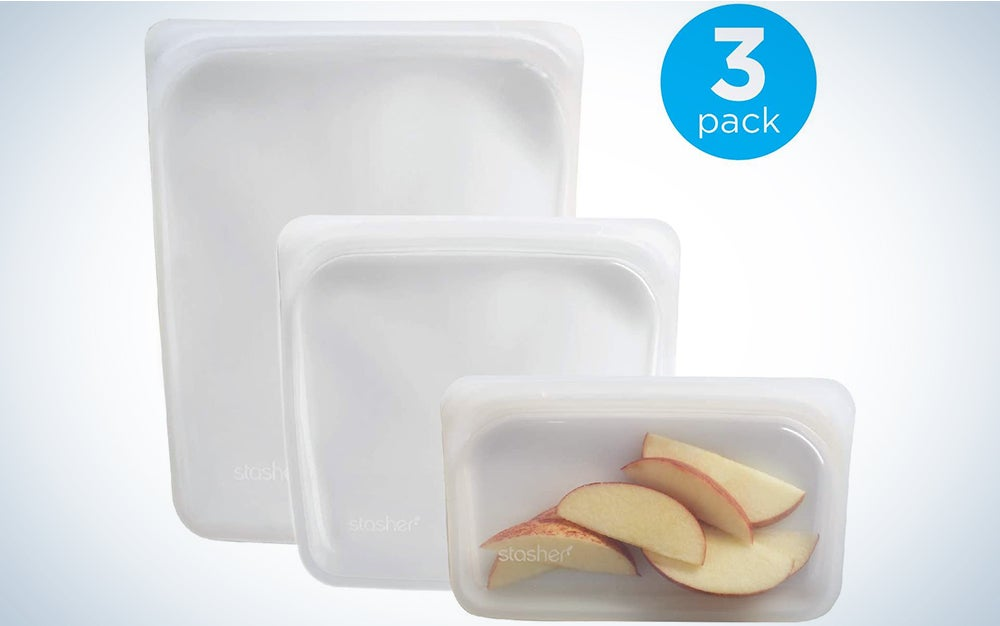 Stasher Reusable Silicone Food Bag, Sandwich Bag, Sous vide Bag, Storage Bag, Set of 2, Clear and Grey