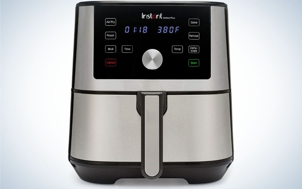 Stainless Steel color - Instant Vortex Plus air fryer pot with digital display from front.