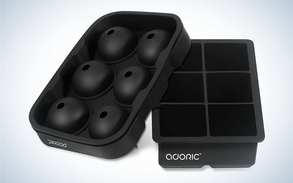 Black, set of two silicone ice cube trays with lid