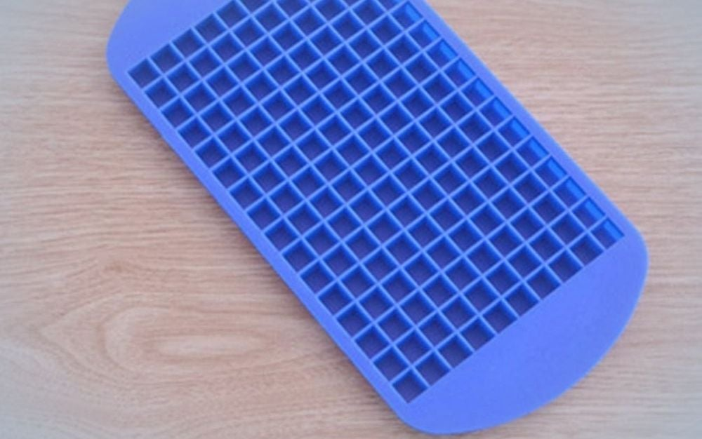 Blue, silicone, small square shape ice cube tray without lid