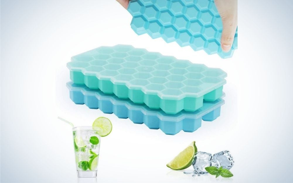 Two pack, green and blue, silicone ice cube trays with lids