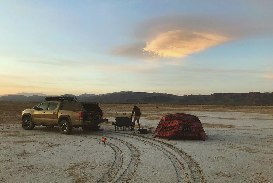 truck and campsite in desert
