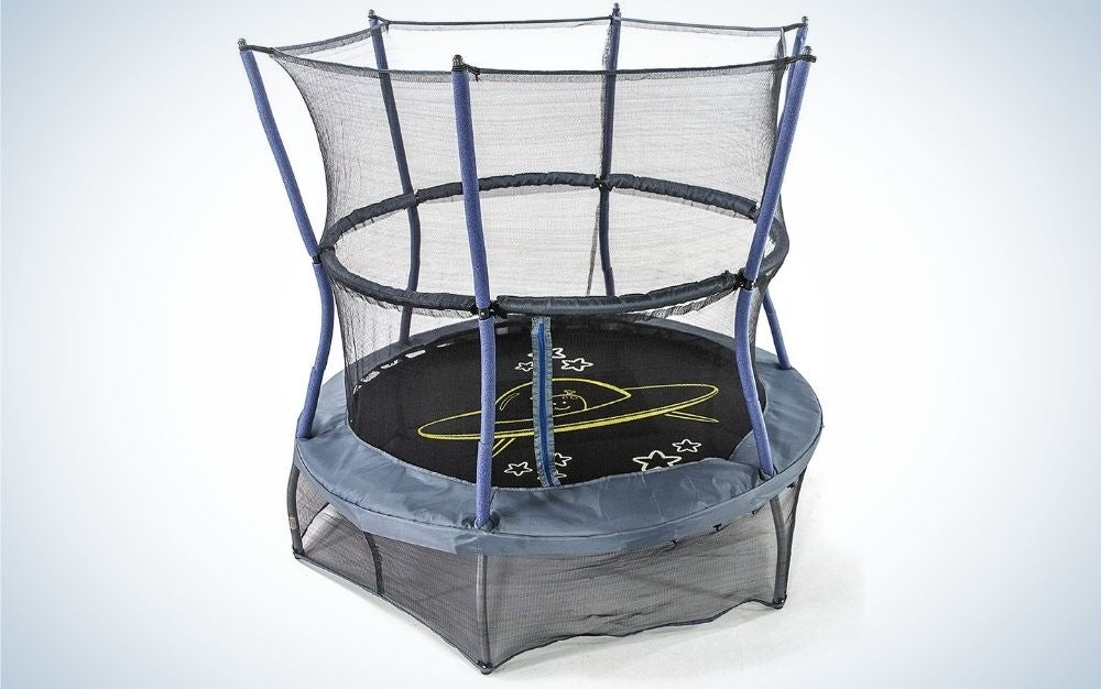 A large trampoline and wrapping translucent nets around it.